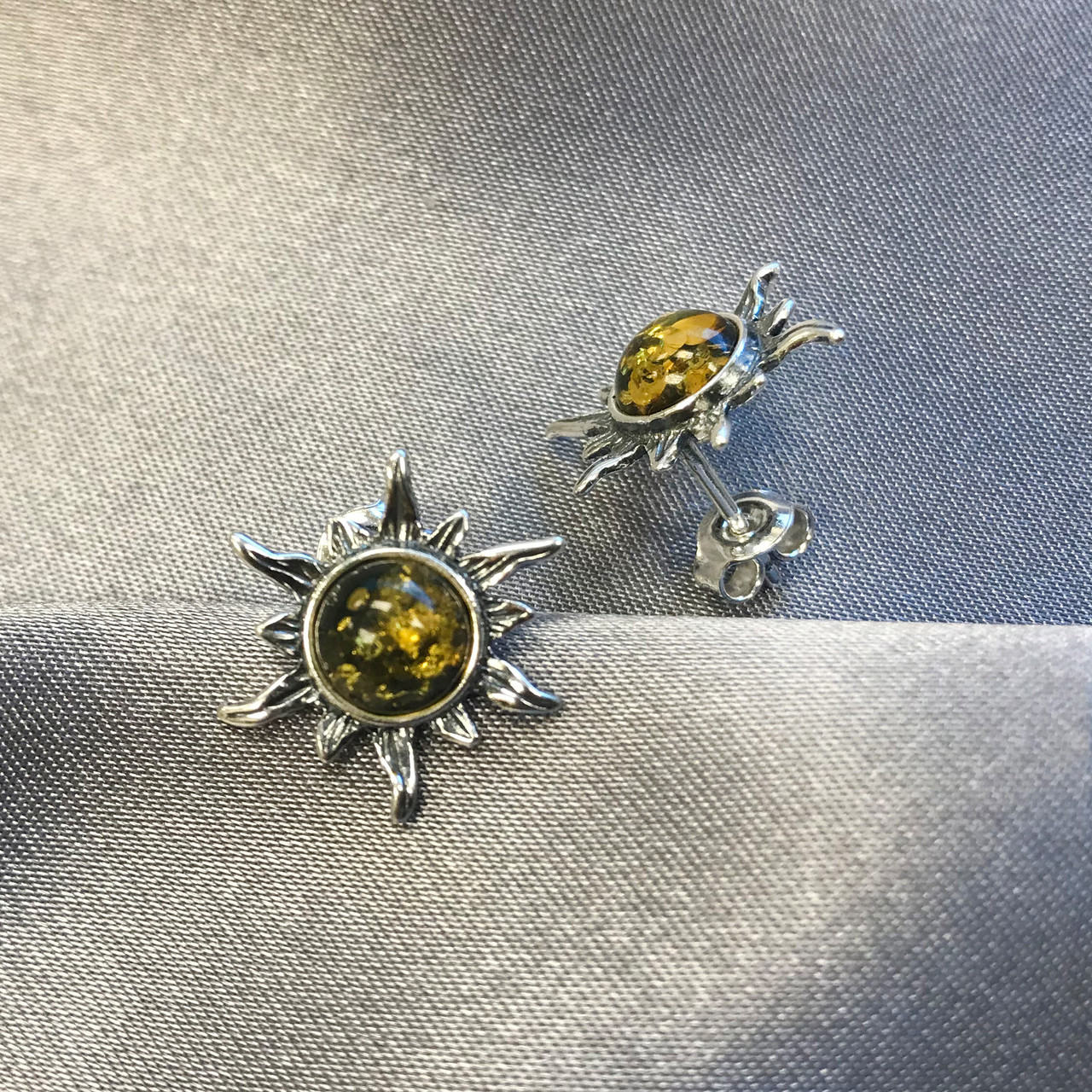 925 Silver Baltic Amber Stud Earrings