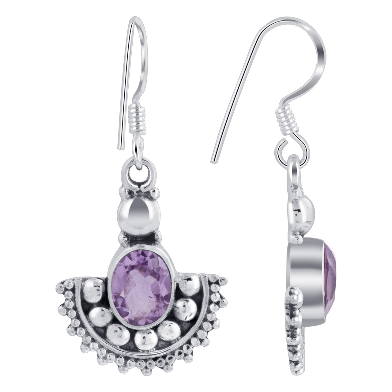 925 Silver Oval Shape Genuine Amethyst Drop Earrings