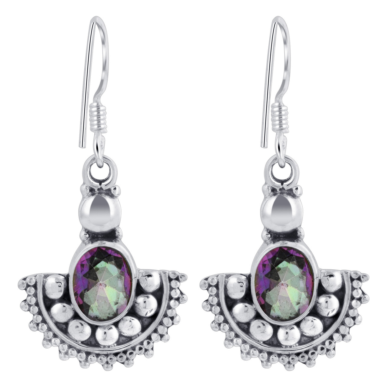 925 Silver Oval Shape Mystic Fire Topaz Drop Earrings