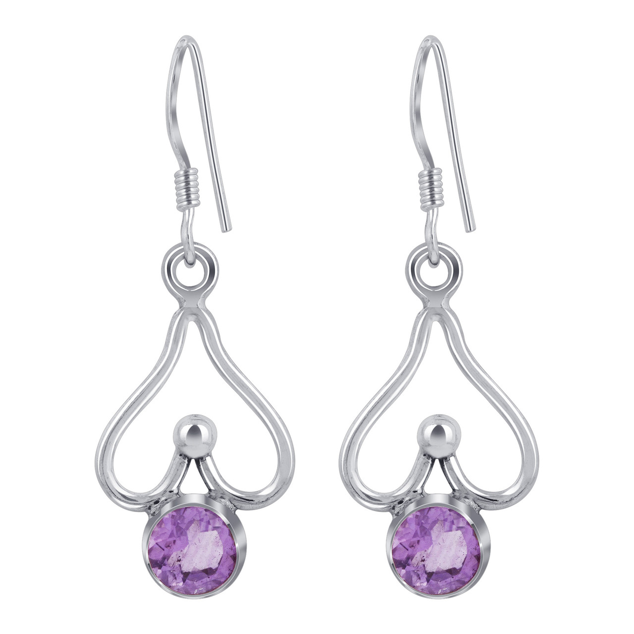 925 Silver Genuine Amethyst Drop Earrings
