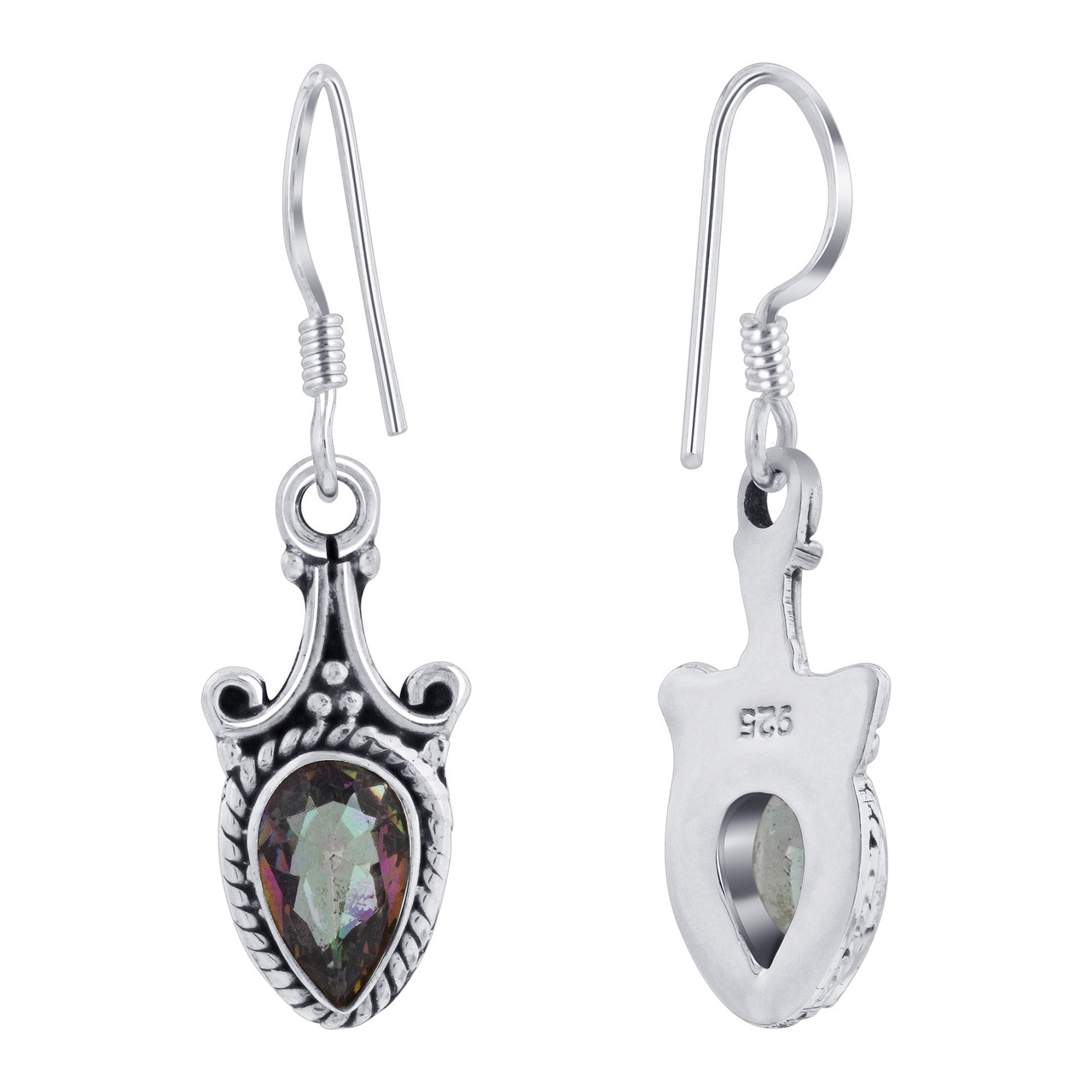 Sterling Silver Genuine Mystic Fire Topaz Drop Earrings