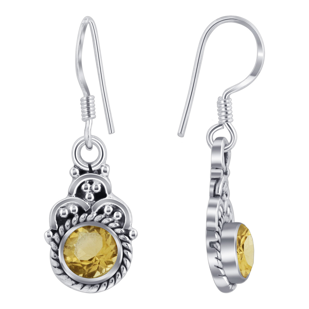 Sterling Silver Yellow Genuine Citrine Drop Earrings