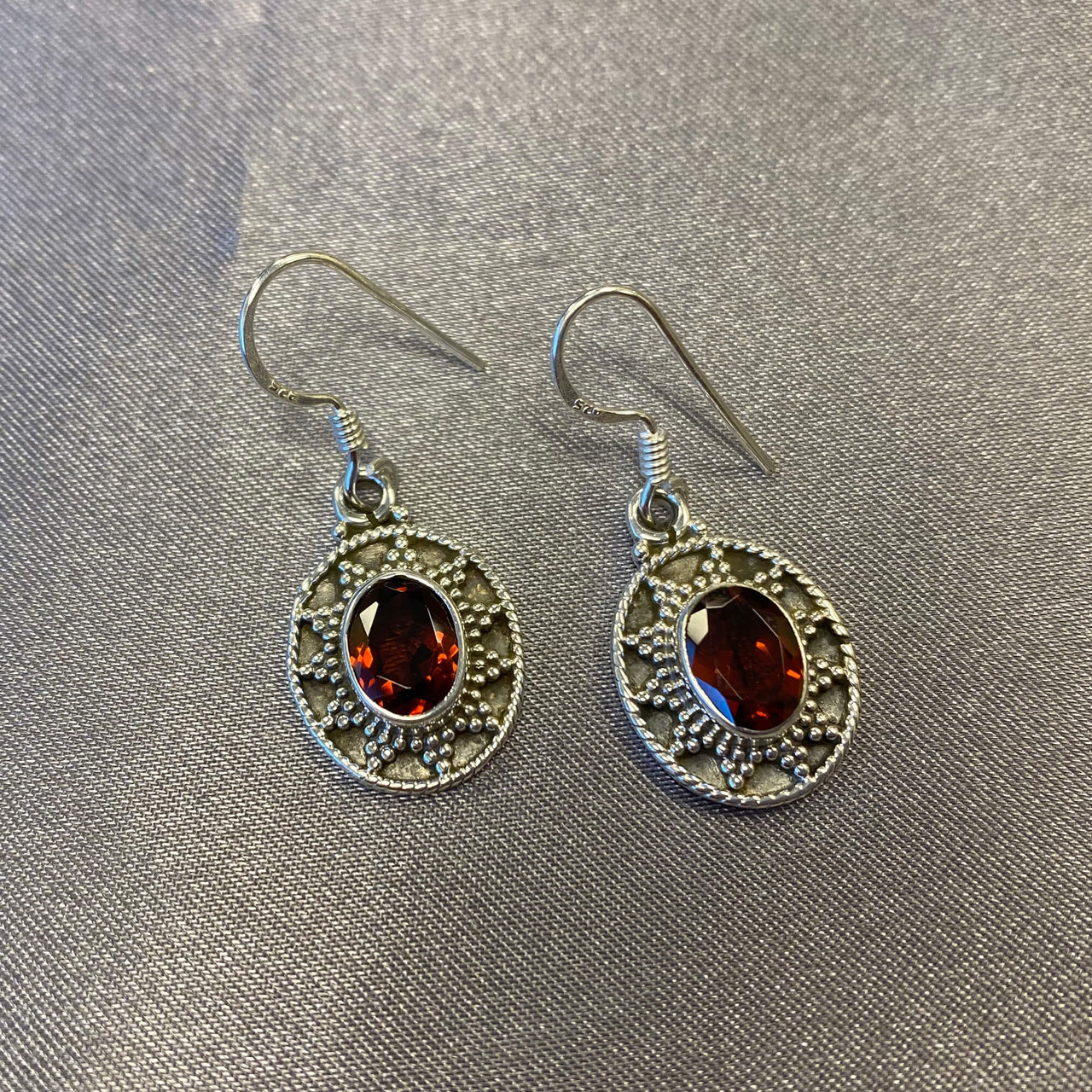 925 Sterling Silver Bali Design Oval Genuine Garnet Gemstone French Hook Earrings