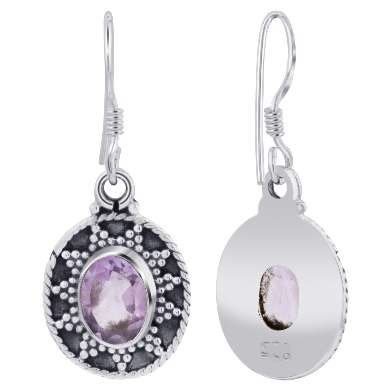 925 Silver Bali Design Oval Amethyst Gemstone Earrings