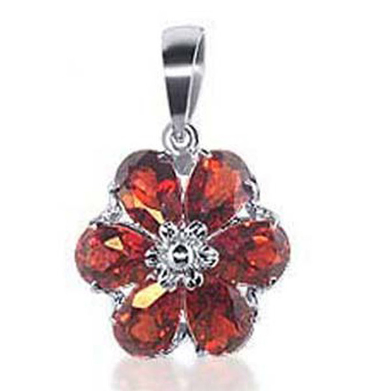 White Gold Garnet Gemstone Flower Pendant