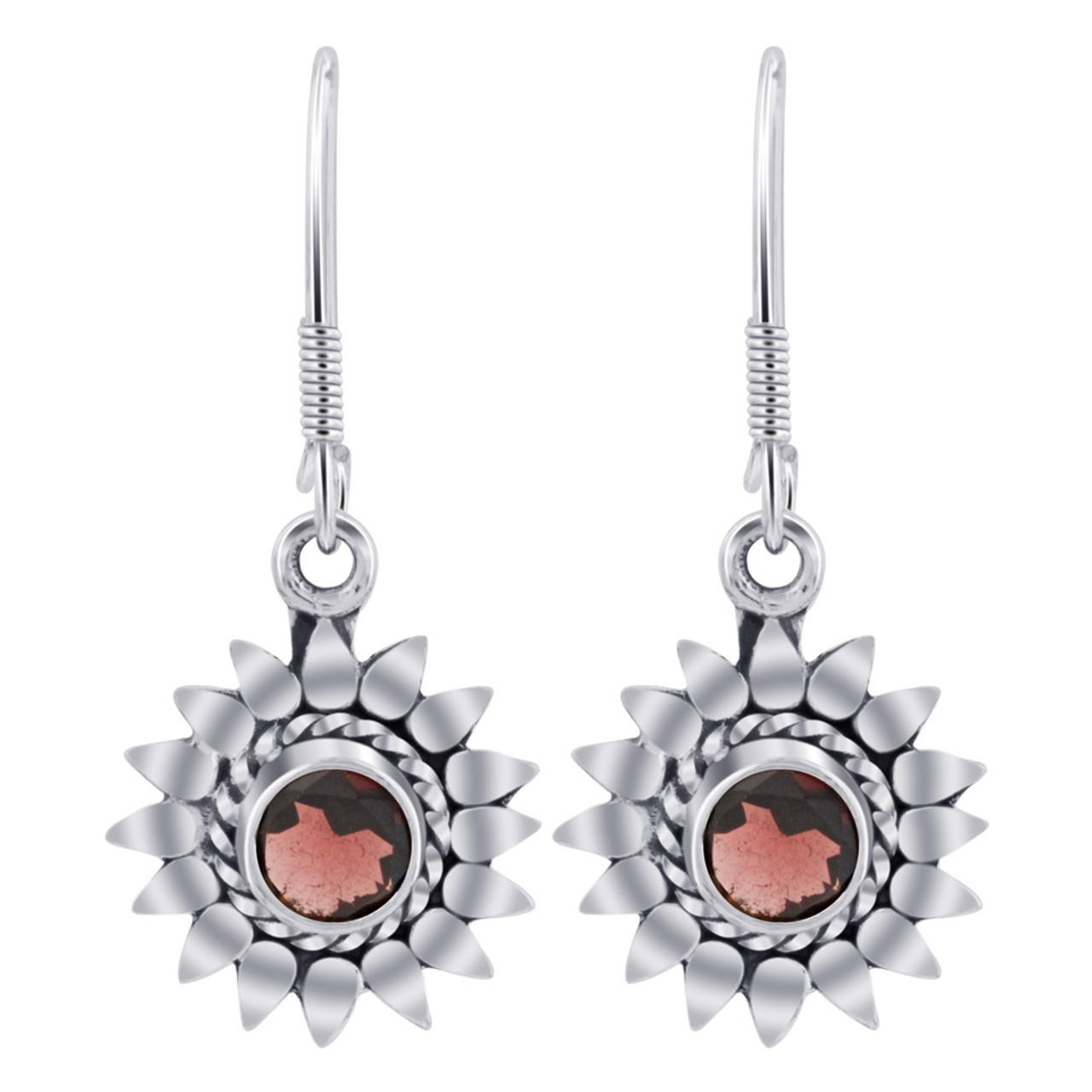 Sterling Silver Flower Garnet Gemstone Drop Earrings