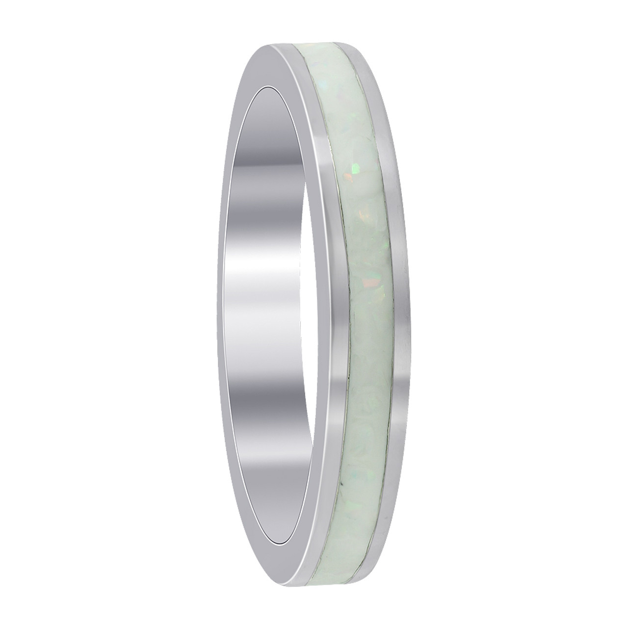 Sterling Silver White Opal 3mm Eternity Band