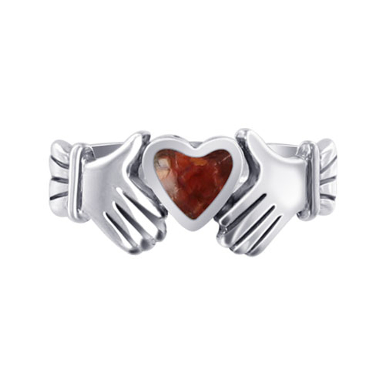 Coral Color CZ Heart Irish Claddagh Womens Ring
