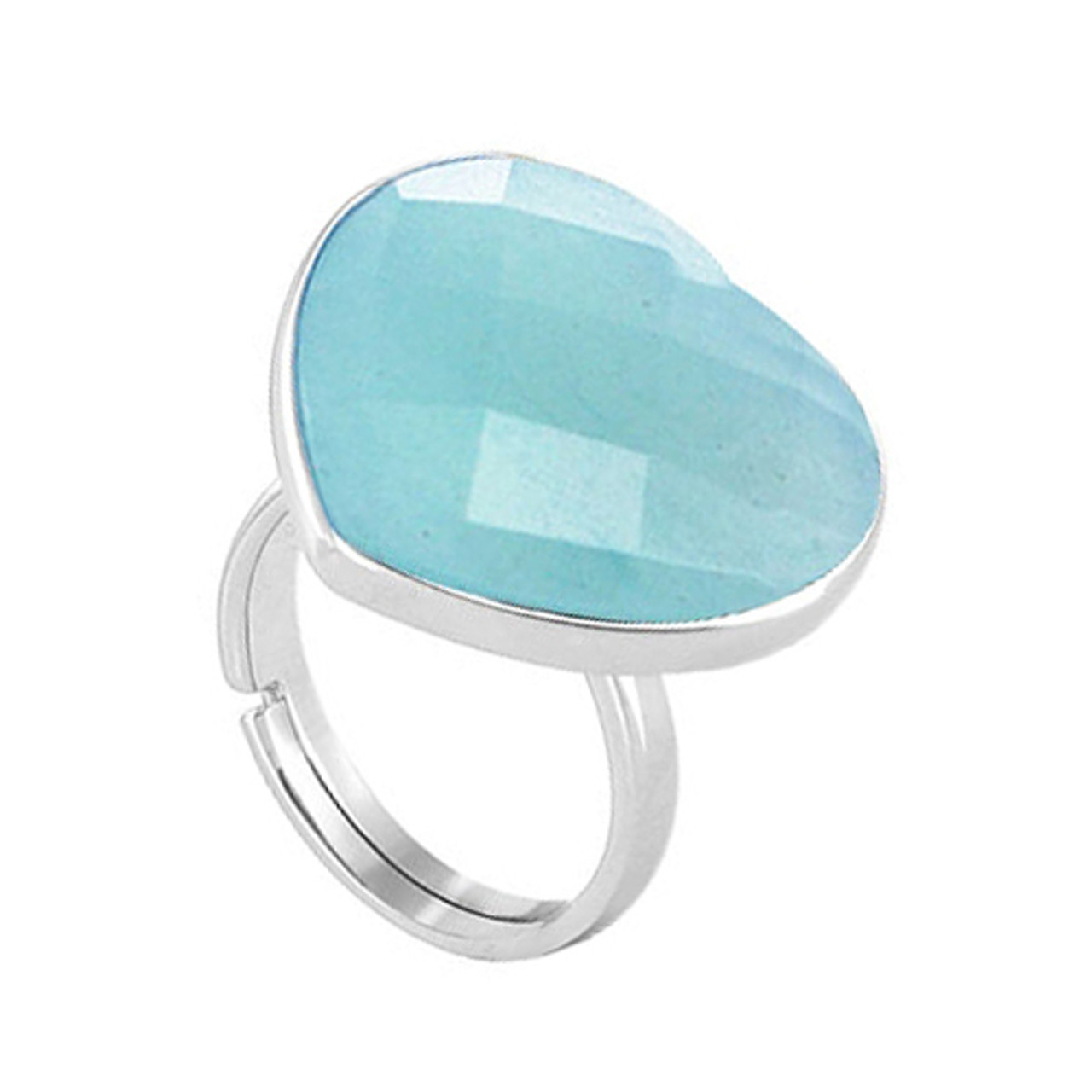 Arizona Faceted Heart 3mm Ring Size 8 to 11 Adjustable