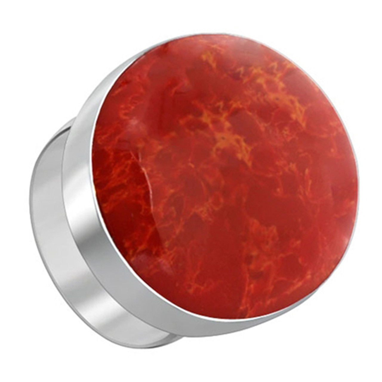 Red Coral Gemstone Womens Ring