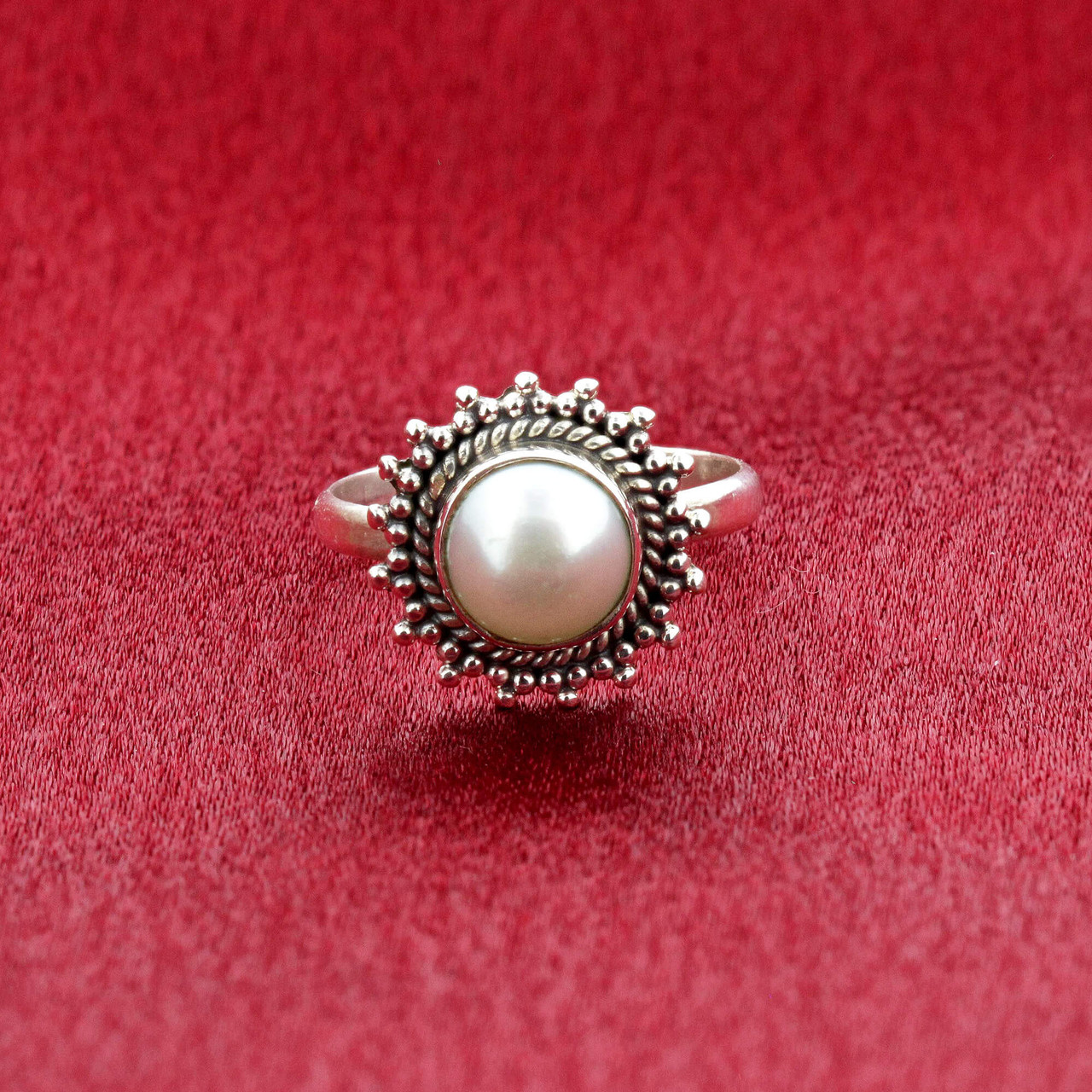 Faux Pearl Gemstone Retro Style Womens Ring