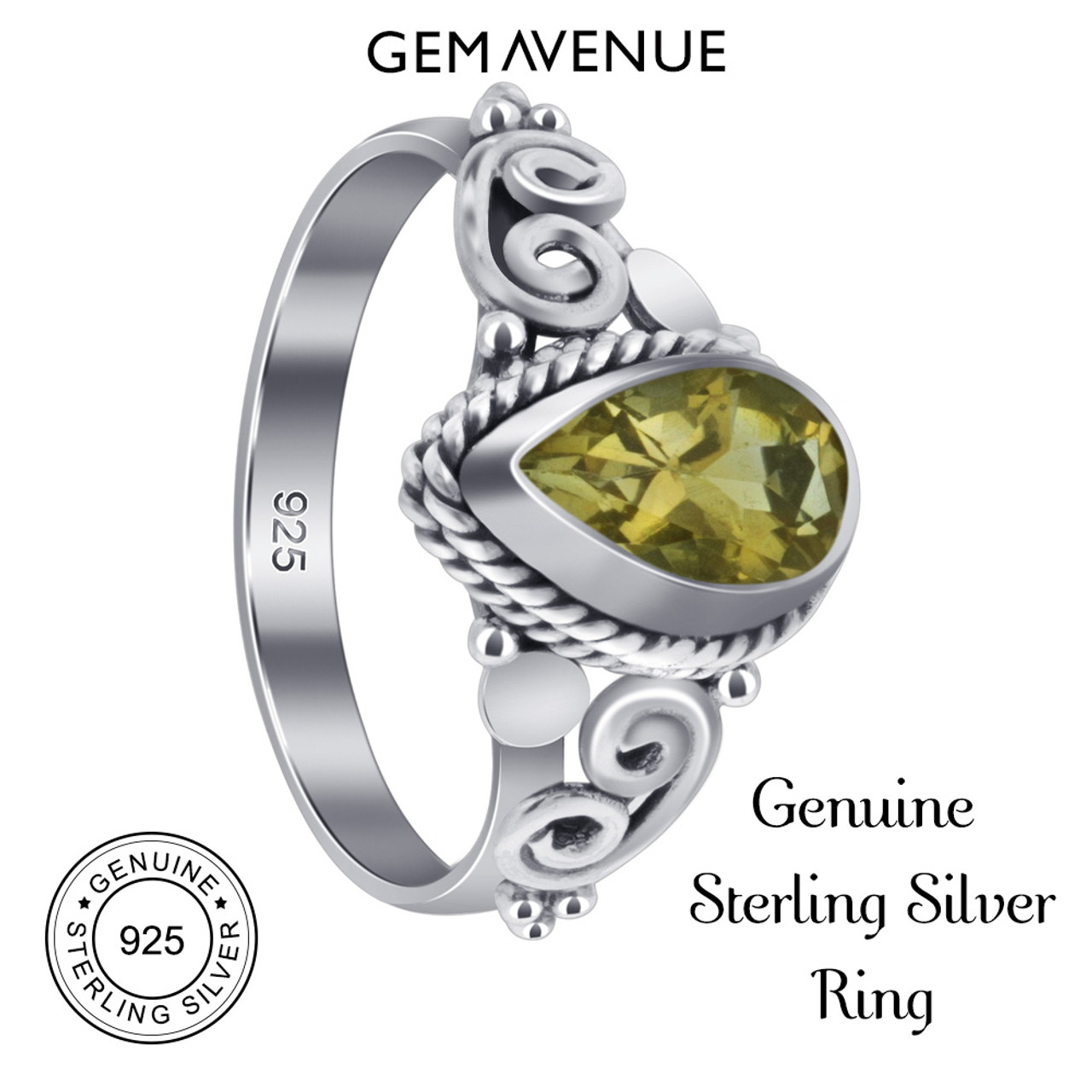 Sterling Silver Pear Shape Citrine Gemstone Ring