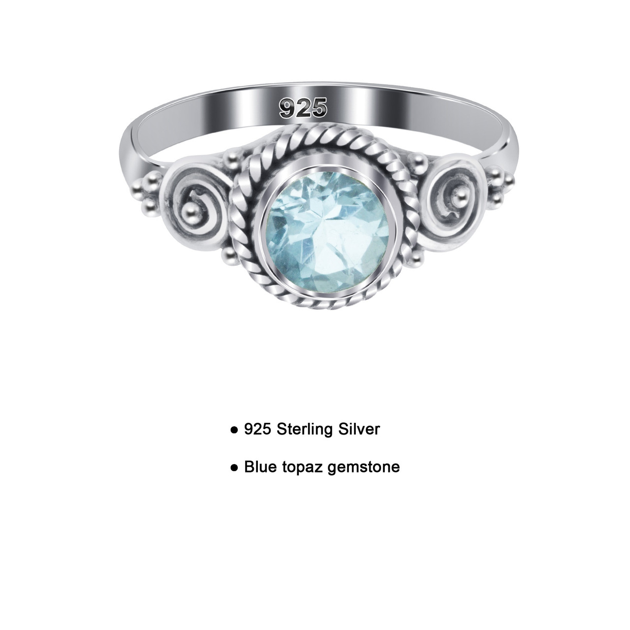 Sterling Silver 5mm Round Blue Topaz Gemstone Solitaire Ring