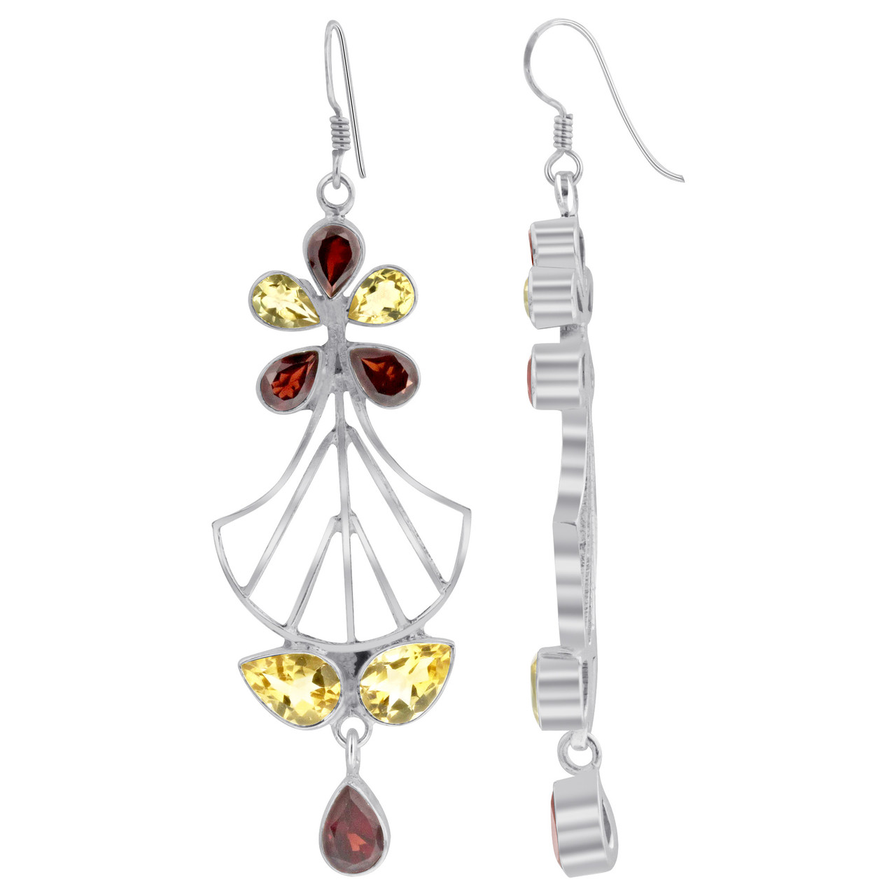 925 Silver Citrine Garnet Bali Design Drop Earrings