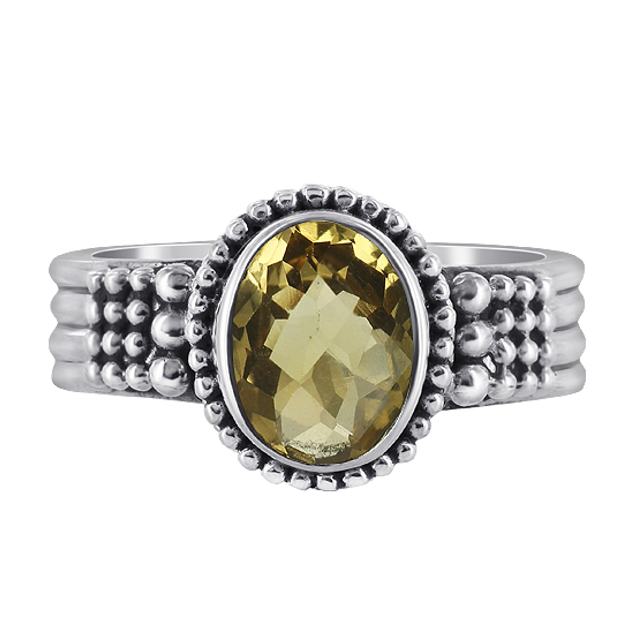 Sterling Silver Citrine Gemstone Solitaire Ring