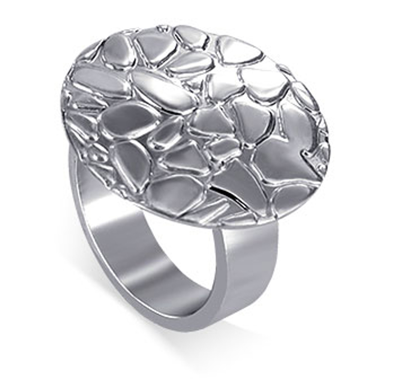 925 Sterling Silver 1 inch Round Texture Ring