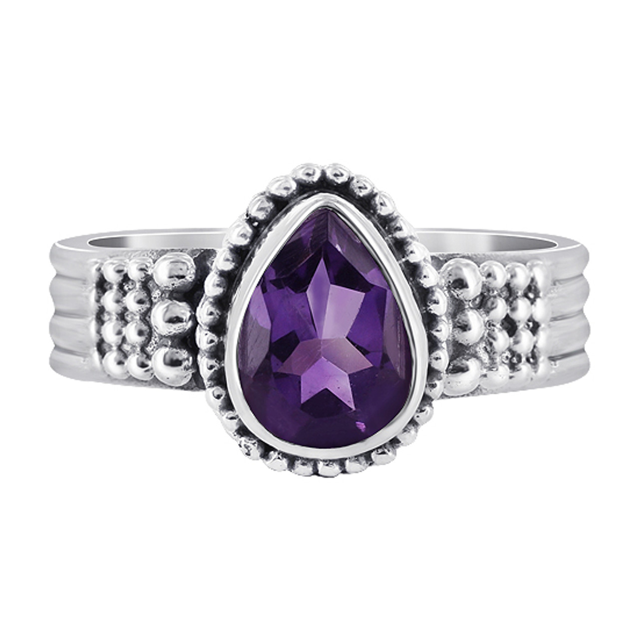 Amethyst Gemstone Solitaire Womens Ring