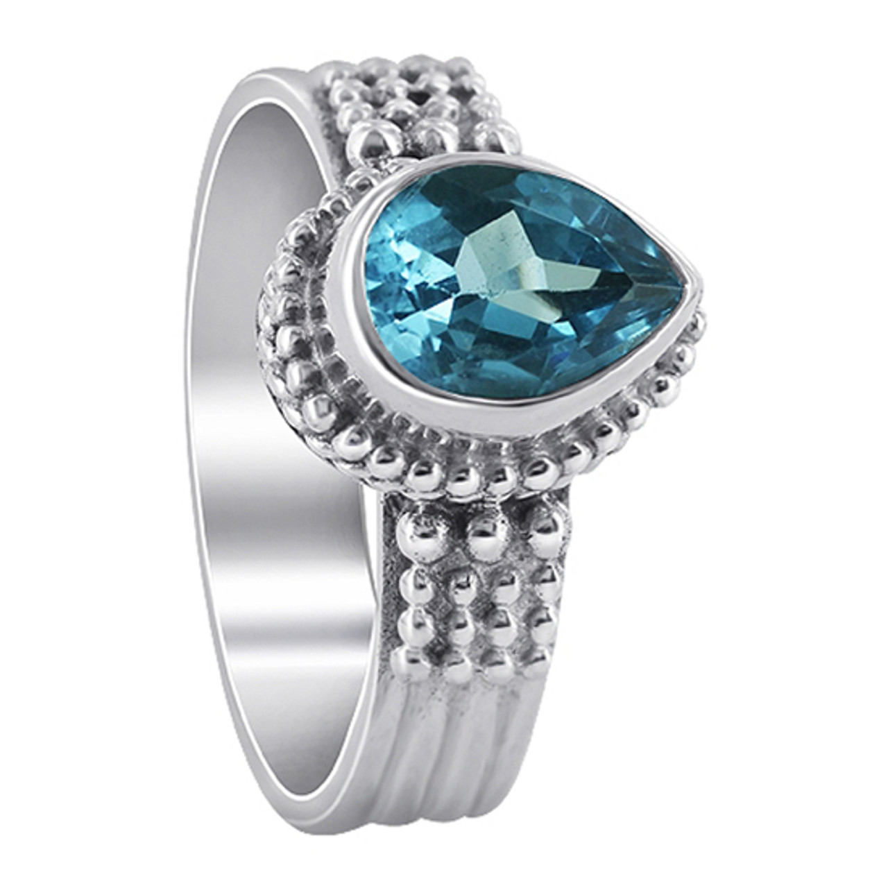 Blue Topaz Solitaire Gemstone 925 Sterling Silver Women's Ring