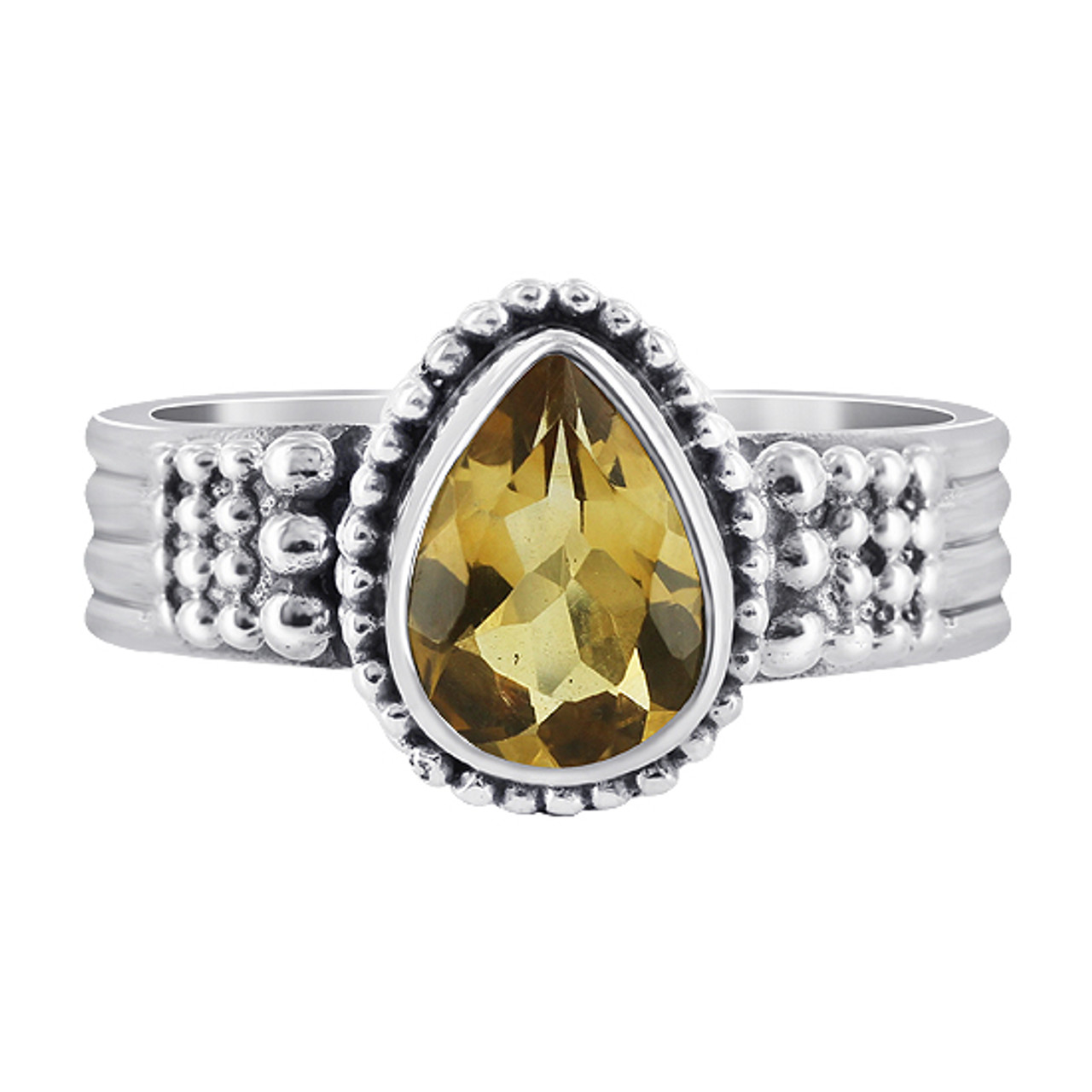 Citrine Gemstone Solitaire 925 Sterling Silver Womens Ring