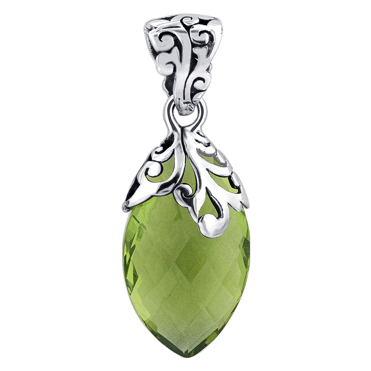 925 Sterling Silver Marquise Shape Green Amethyst Pendant