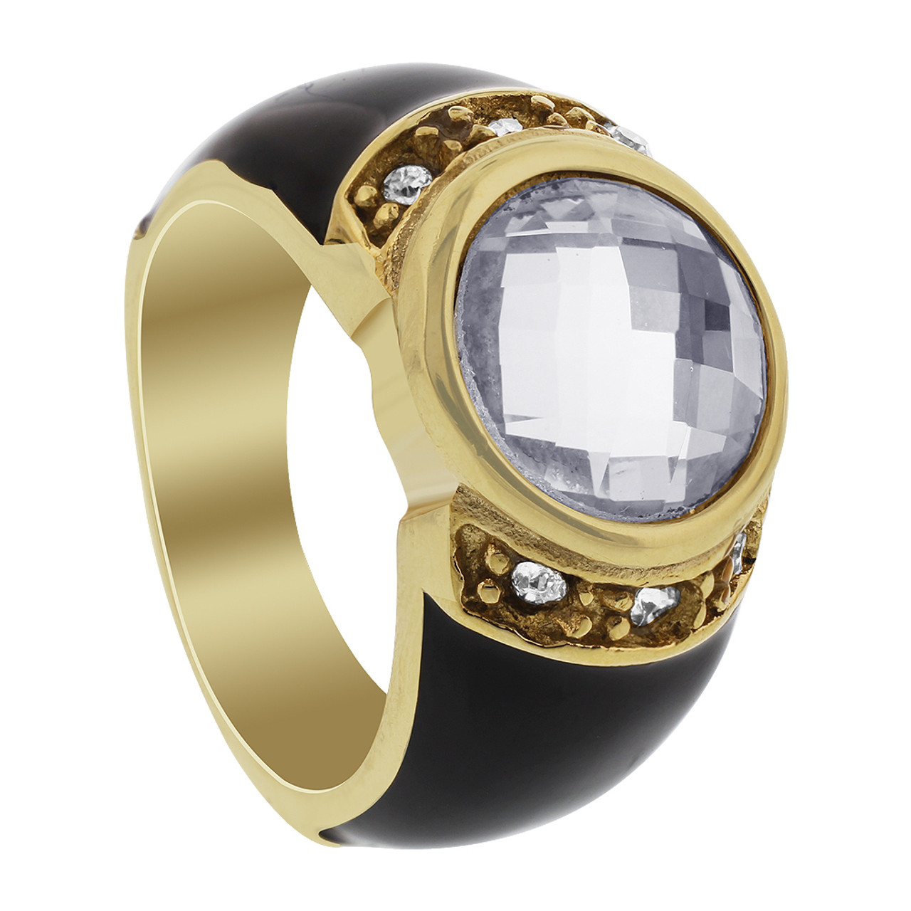 Stainless Steel Black Enamel with Solitaire with Accents CZ Ring