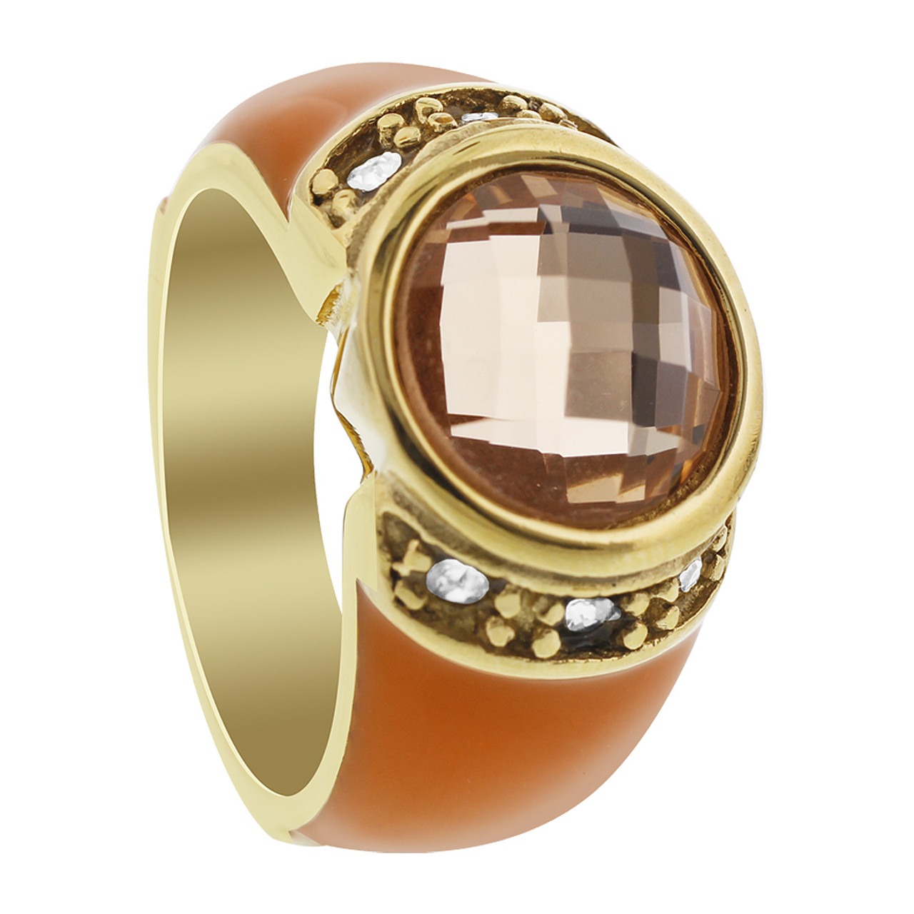 Stainless Steel Orange Enamel with Solitaire Citrine Color CZ Accents Ring