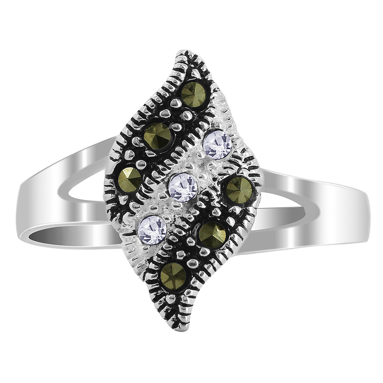 Clear Cubic Zirconia and Marcasite Ring
