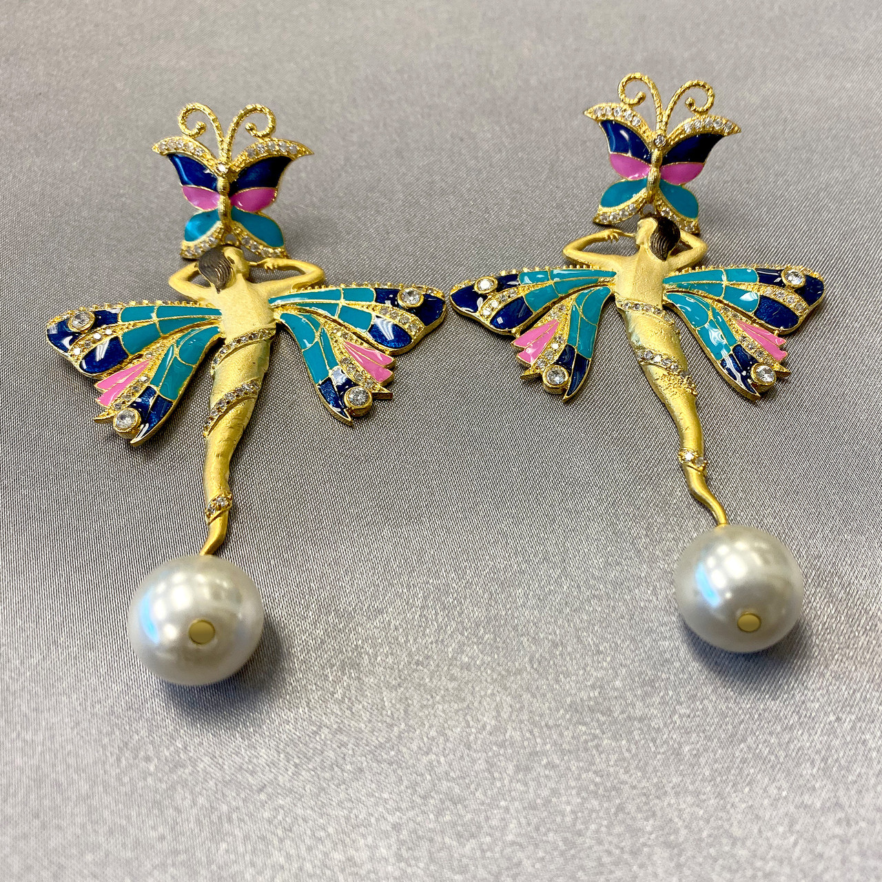 Gold Plated Handmade Multicolor Enamel Ballerina Designer Bollywood Indian Dangle Earrings