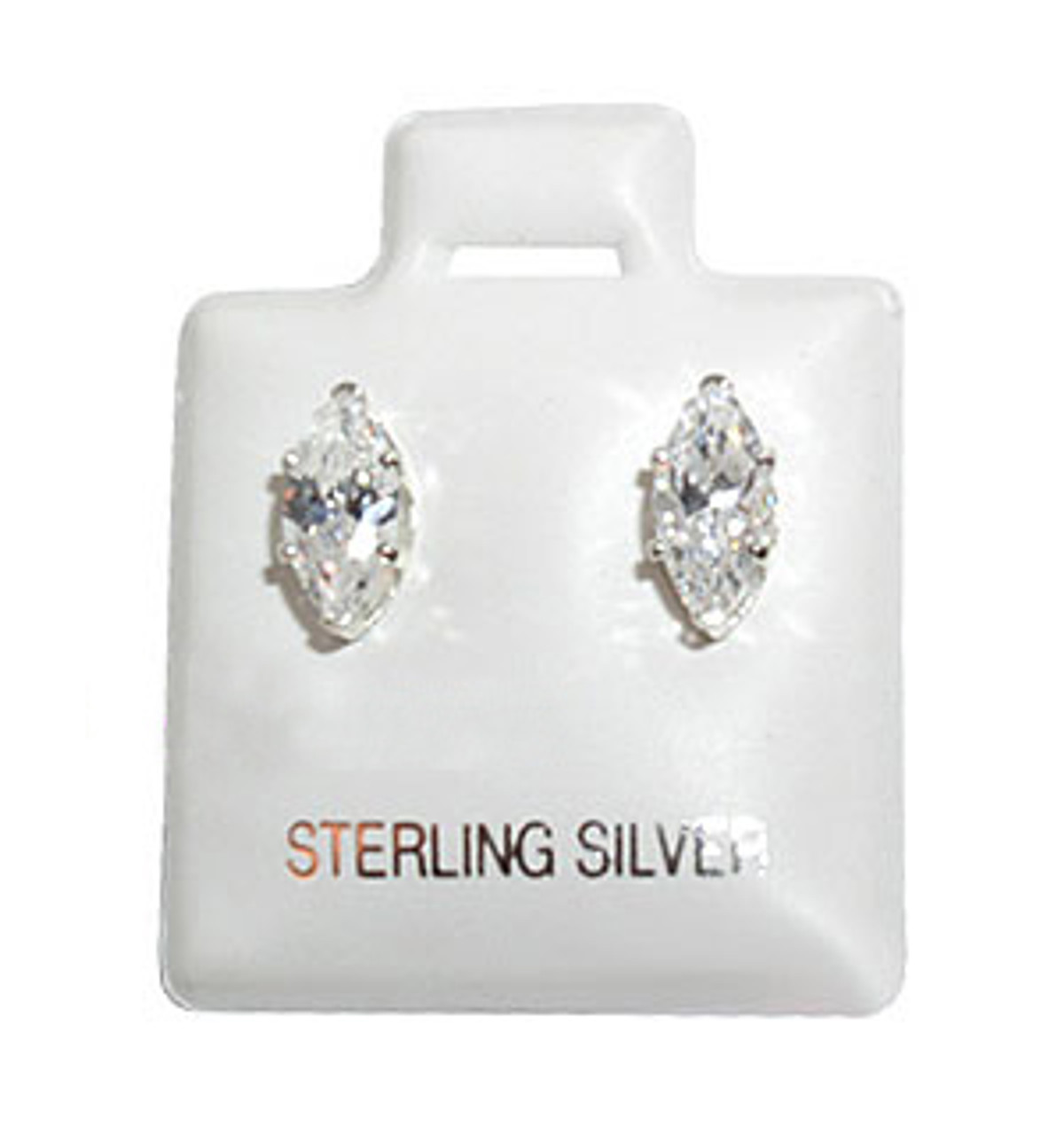 Sterling Silver Cubic Zirconia Marquise Stud Earrings