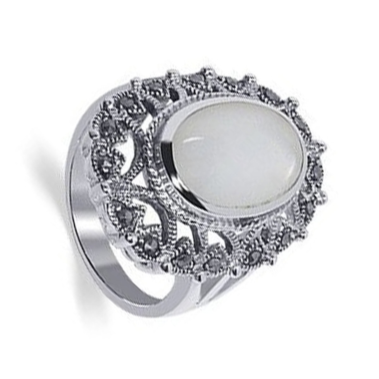 Sterling Silver Oval Mother of Pearl with Marcasite Ring