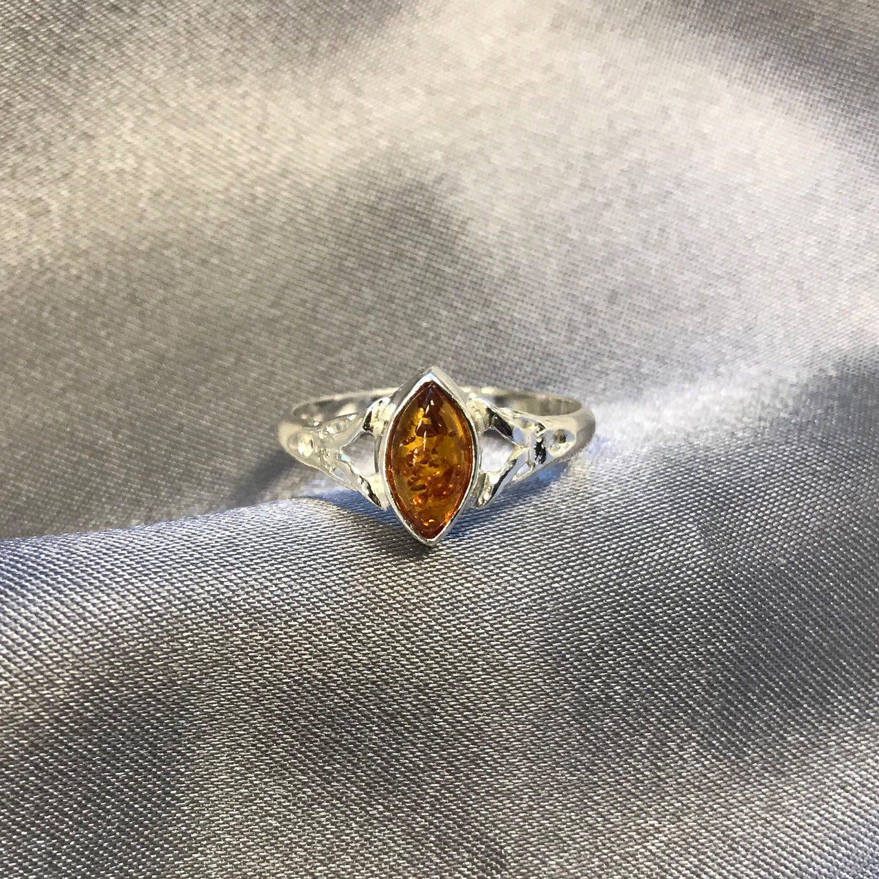 Baltic Amber Celtic Marquise Womens Ring