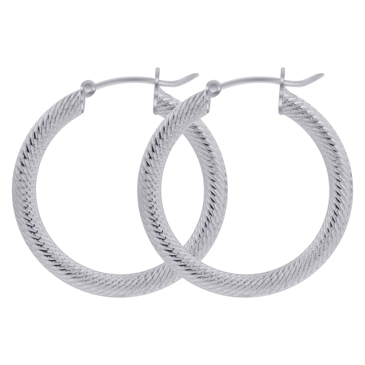 925 Sterling Silver 4mm Thick Hoop Earrings