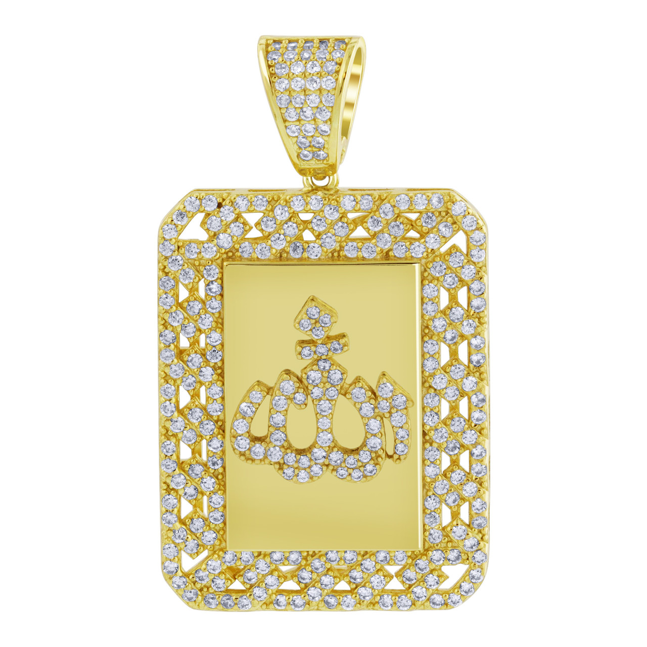 Yellow Gold Rhodium Plated CZ Cubic Zirconia Allah pendant