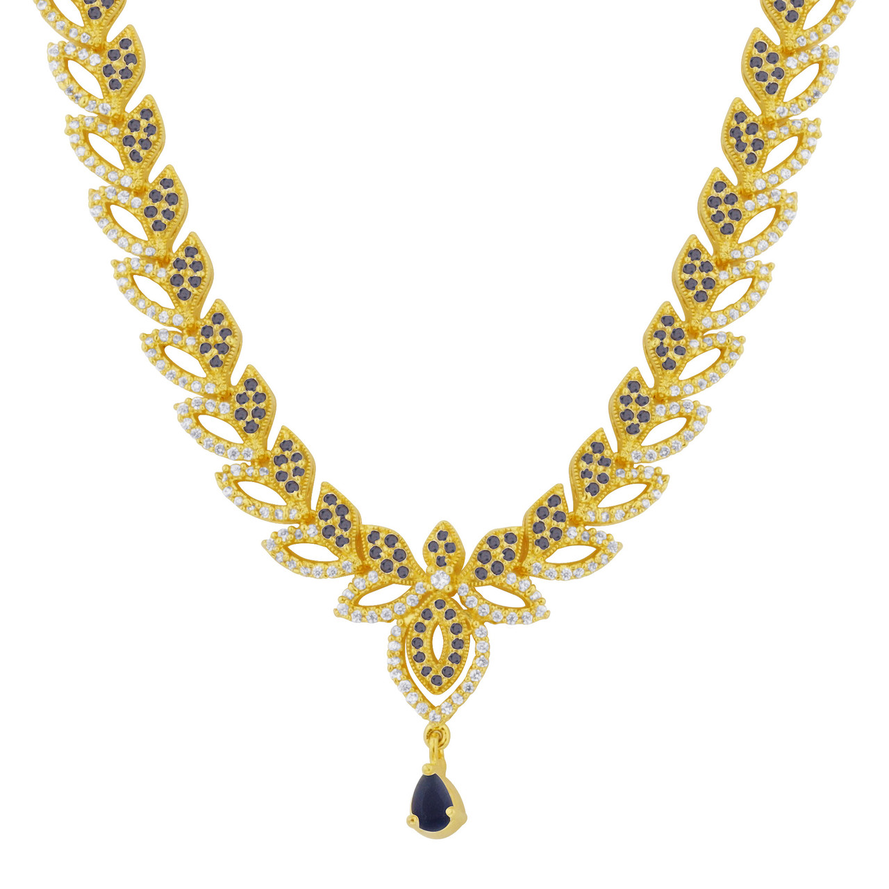 Gold Plated Simulated Sapphire Earrings Set