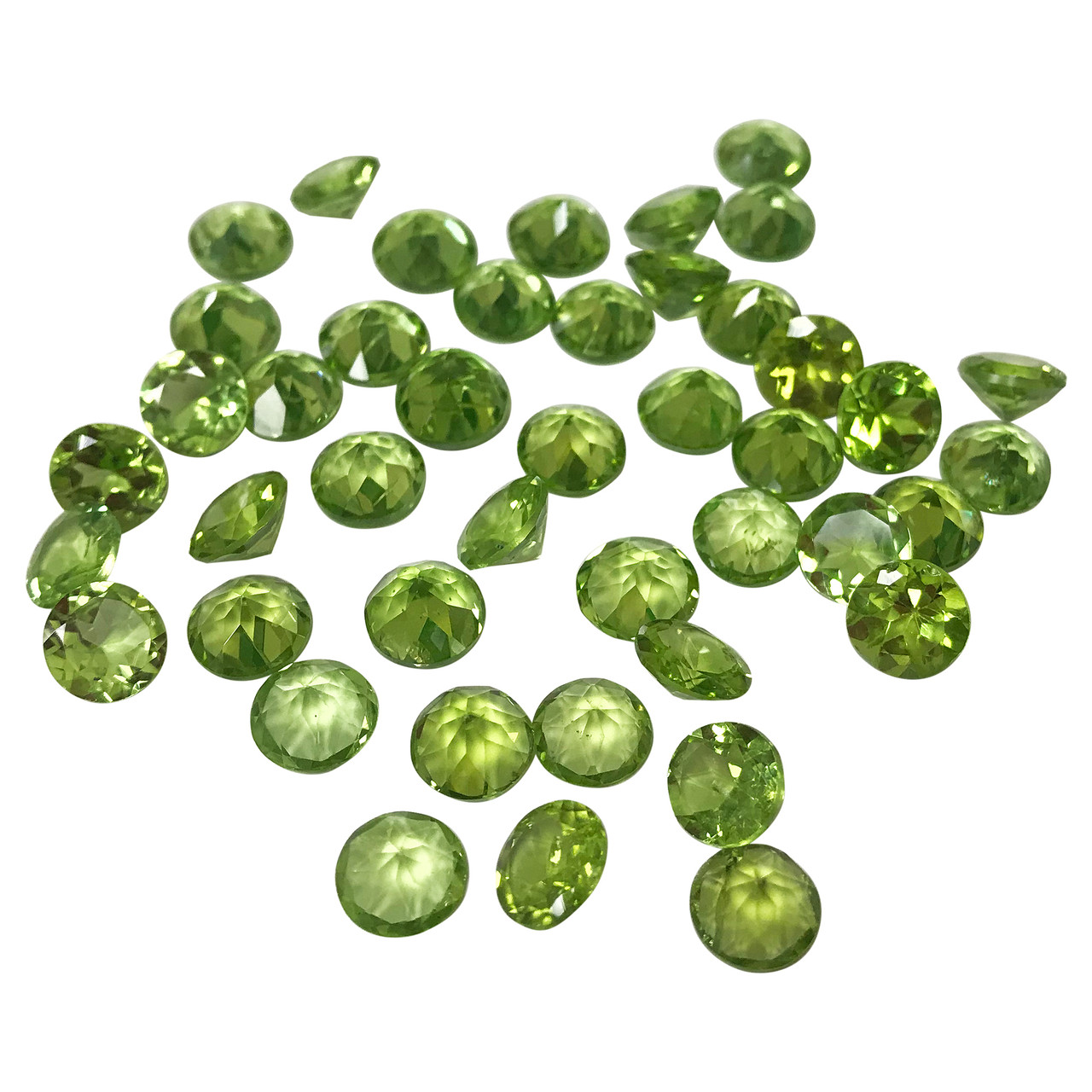 7mm Round Faceted Green Natural Peridot