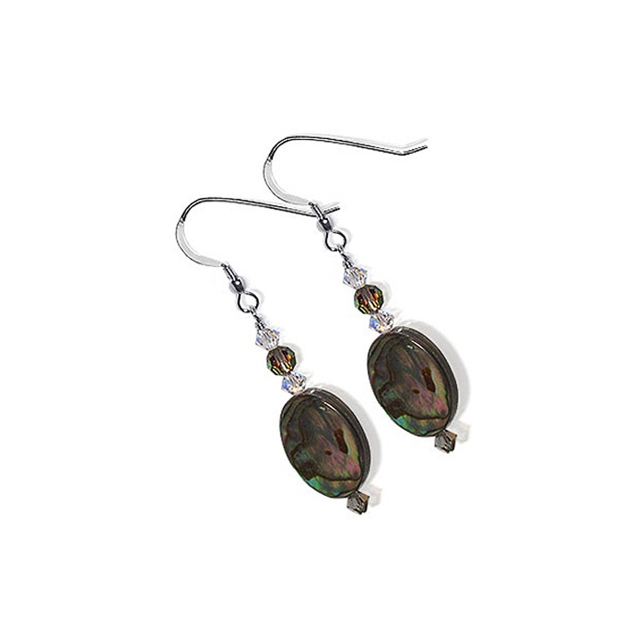 925 Silver Dyed Abalone Crystal Drop Earrings