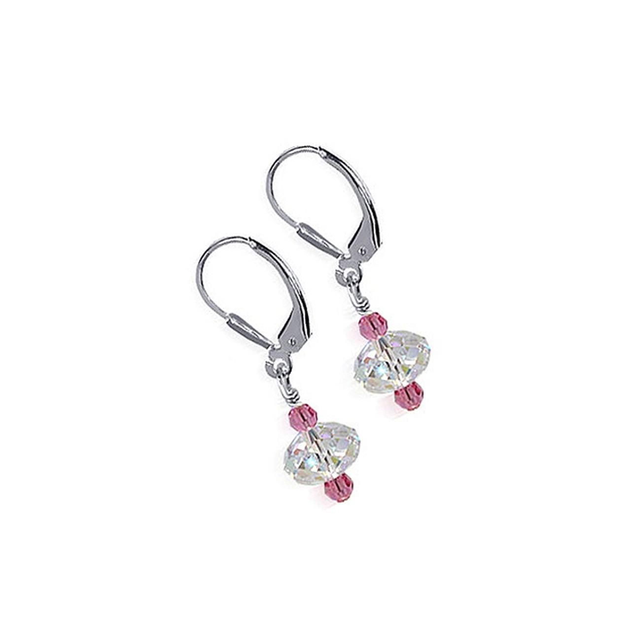 925 Silver Clear and Pink Crystal Drop Earrings