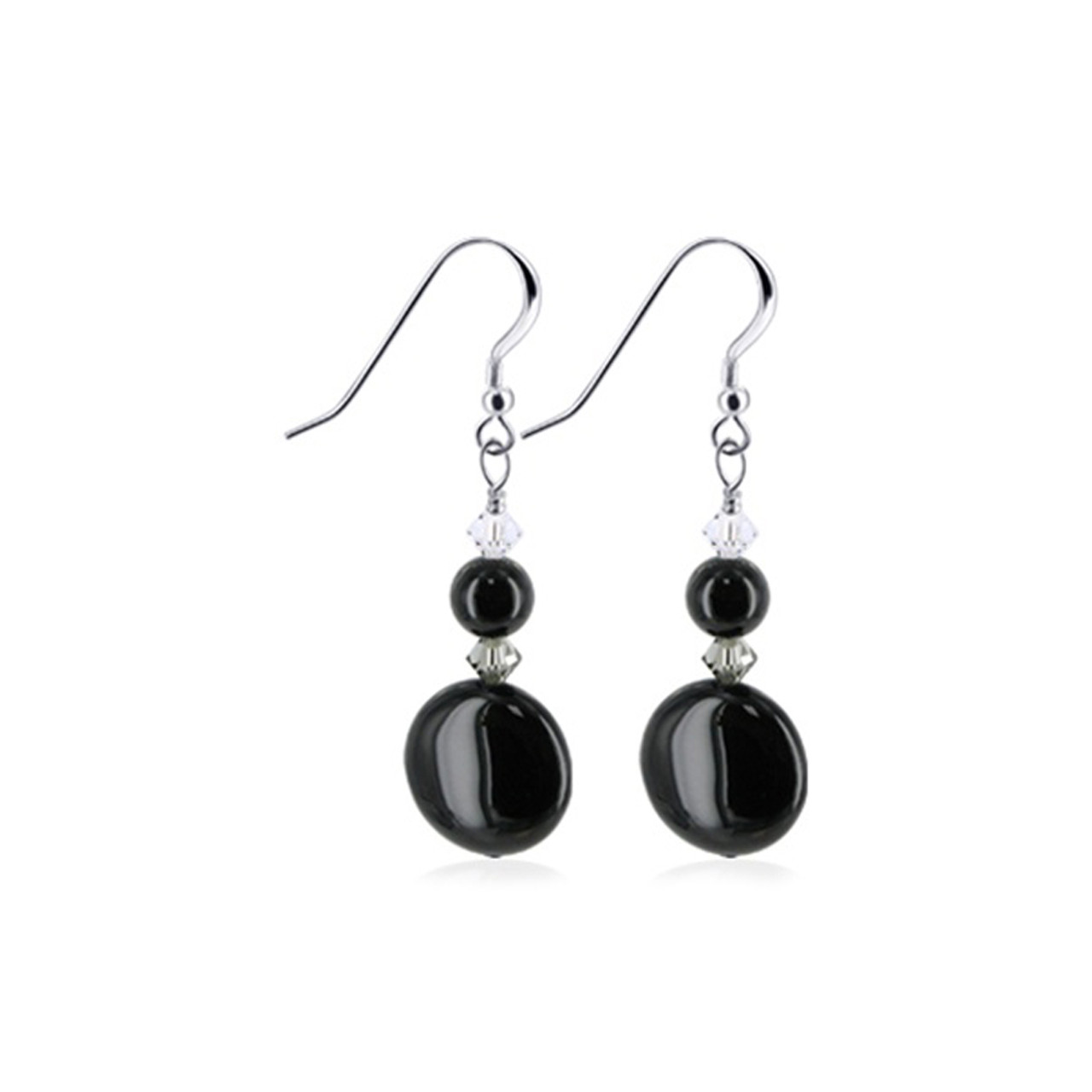 Black Onyx Swarovski Elements Crystal 1.75 inch Sterling Silver Drop Earrings