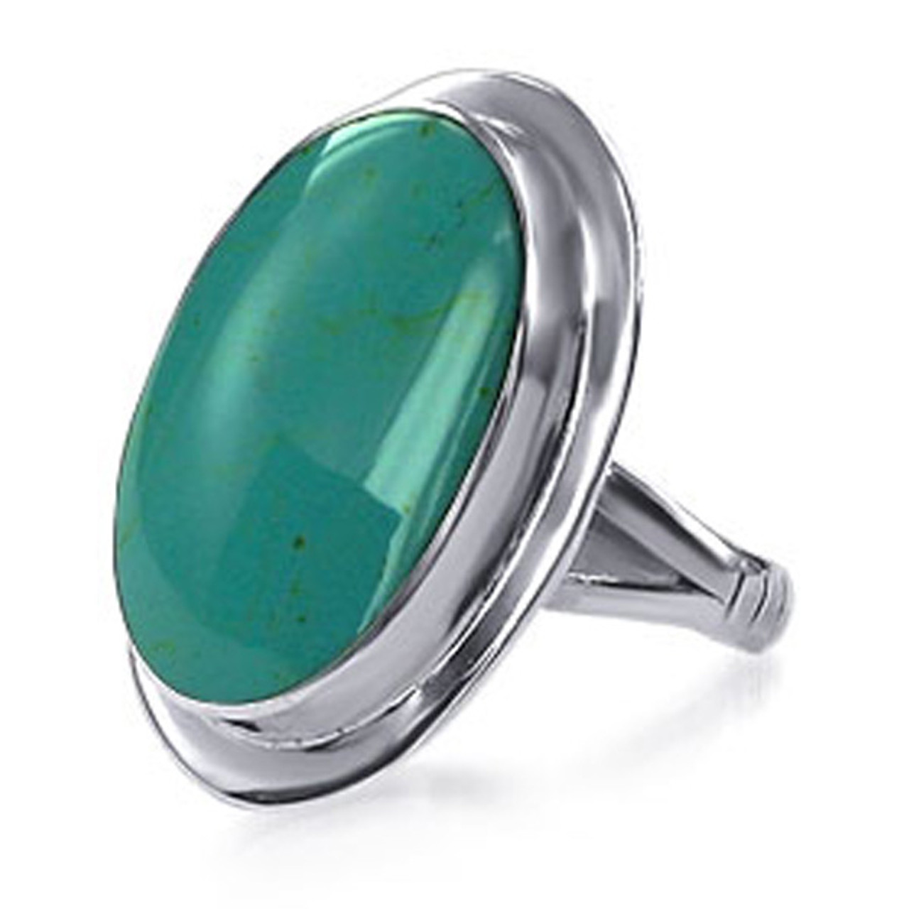 Oval Simulated Turquoise Sterling Silver Solitaire Ring