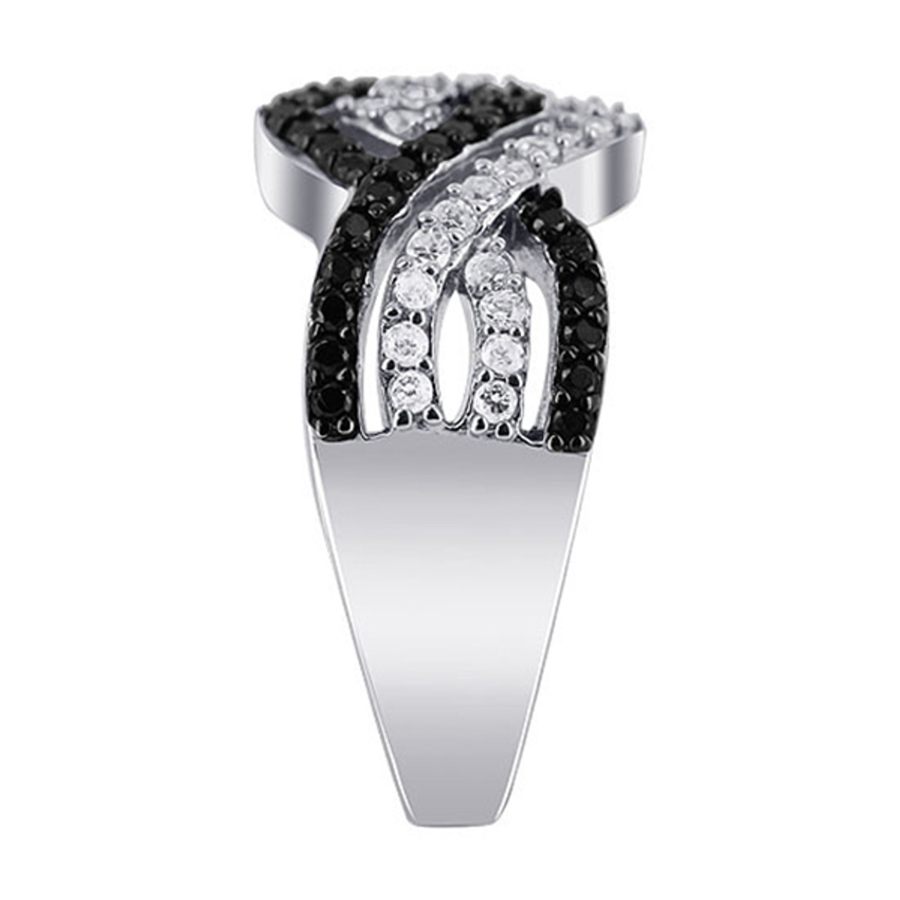 Black and Clear CZ Channel Set Ring