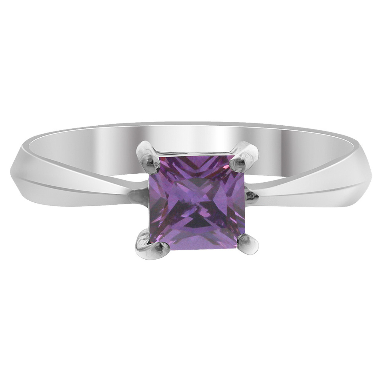 925 Sterling Silver Purple CZ Princess Cut Solitaire Ring