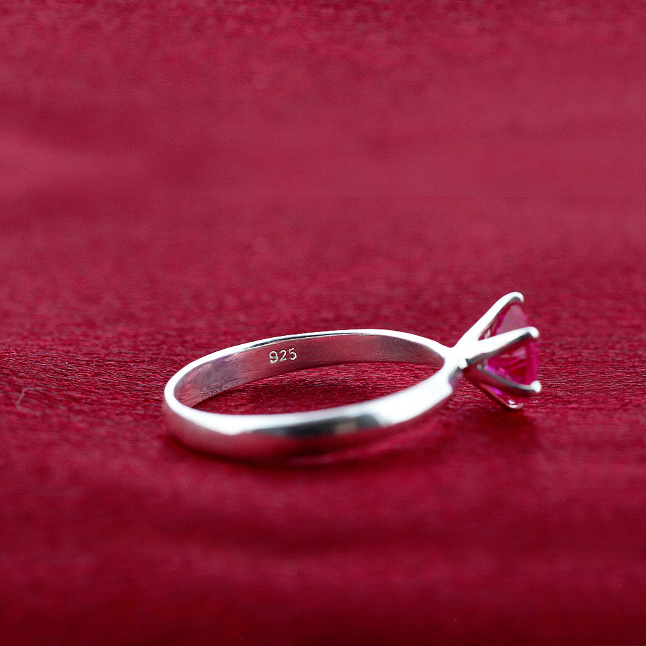 Sterling Silver Round Red Cubic Zirconia Solitaire Ring
