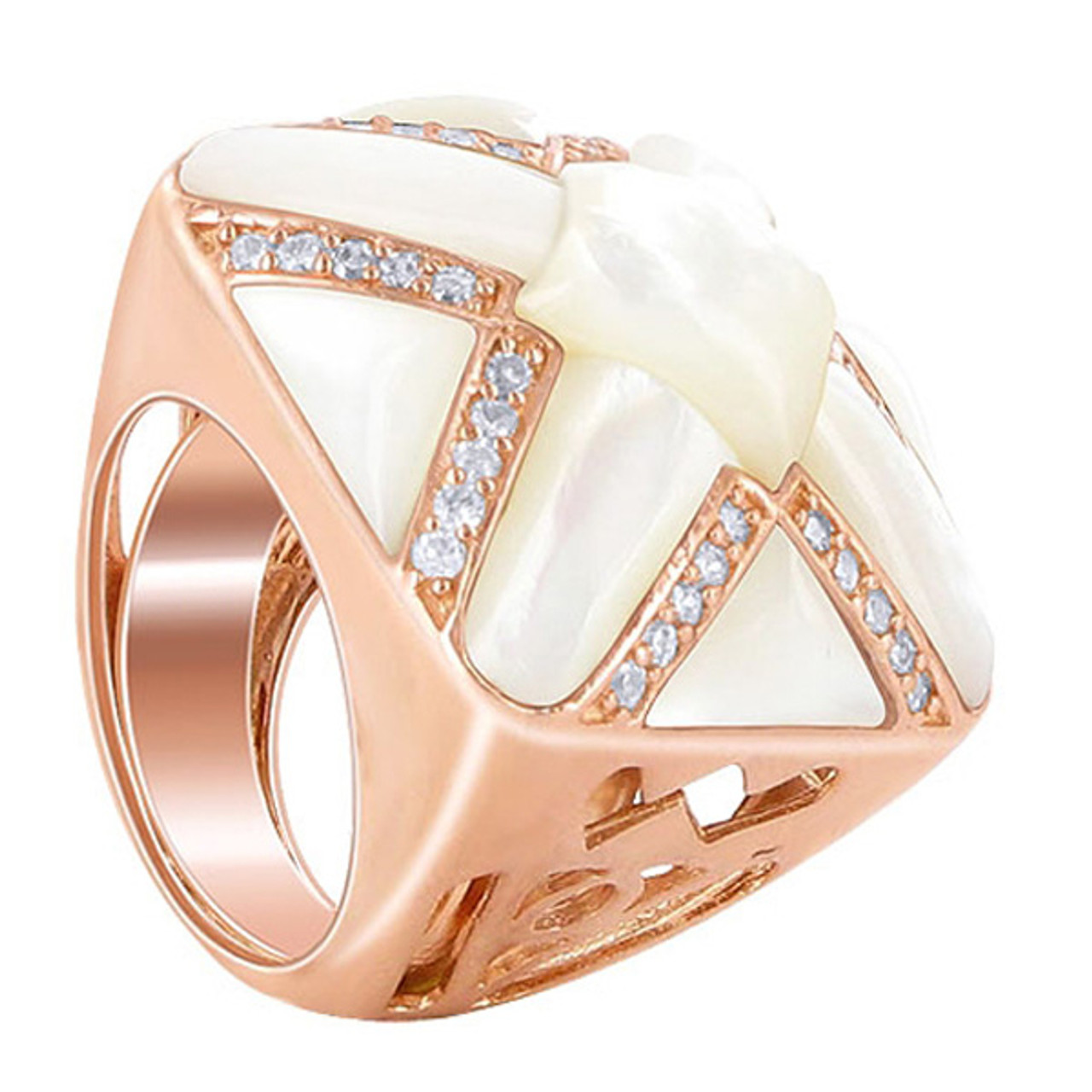 White MOP and CZ Cubic Zirconia X-Style Sterling Silver Copper Faceted Ring