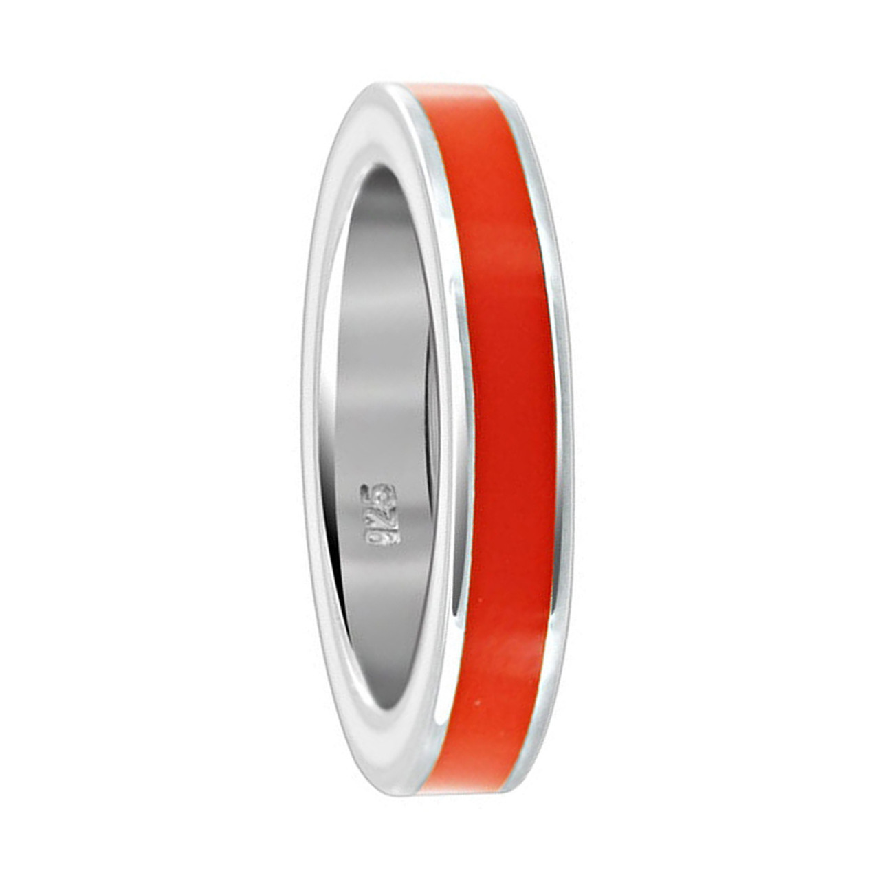 925 Sterling Silver Orange Enamel 4mm Womens Band Ring