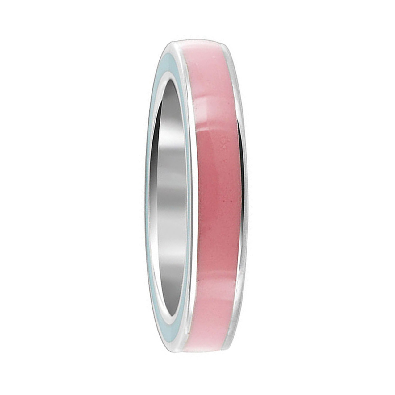 925 Sterling Silver Pink Enamel 4mm Womens Band Ring
