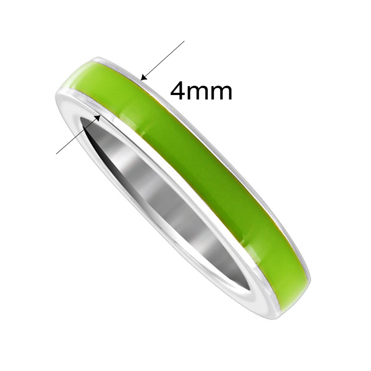 925 Sterling Silver Lime Green Enamel 4mm Women's Band Ring