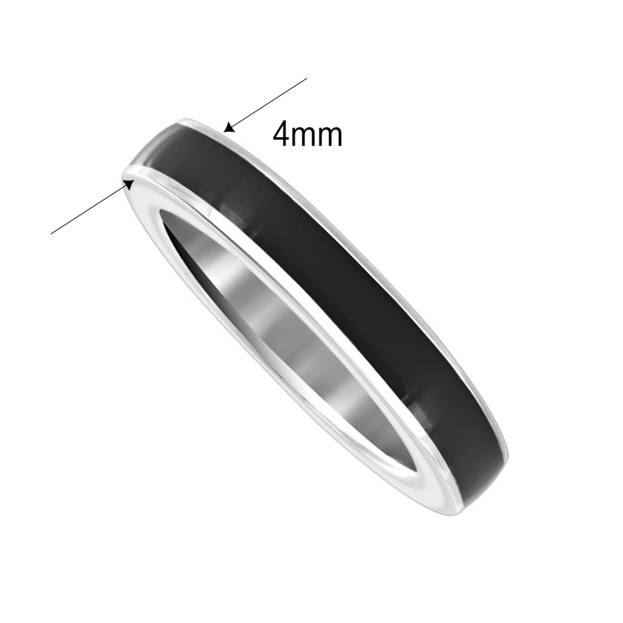 925 Sterling Silver Black Enamel 4mm Womens Band Ring
