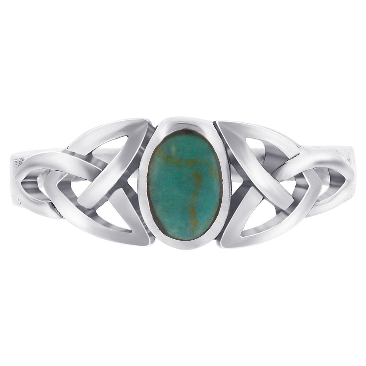 Sterling Silver Simulated Oval Turquoise Celtic Knot Ring
