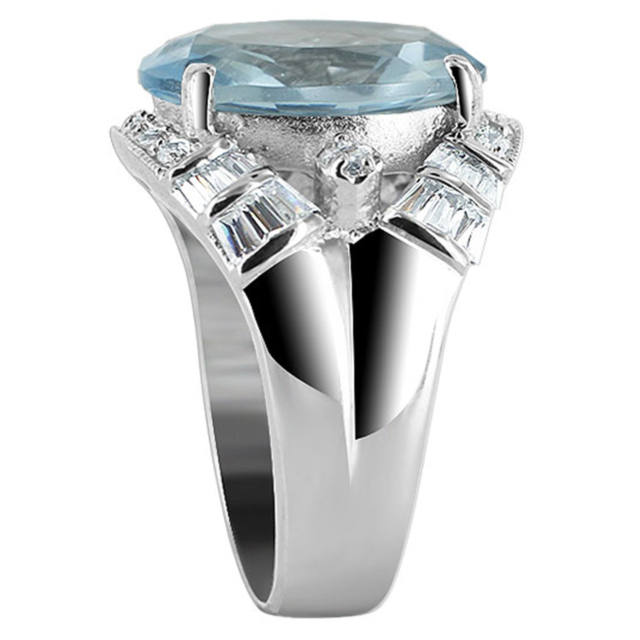 Sterling Silver Oval Blue Color CZ 5mm Ring