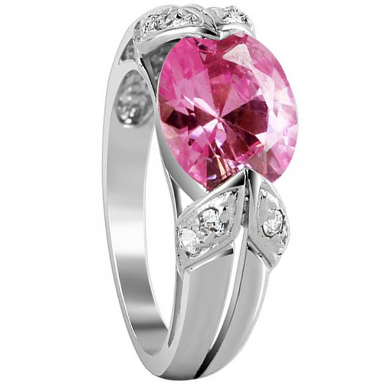 925 Silver Oval Pink ice CZ Cubic Zirconia Ring